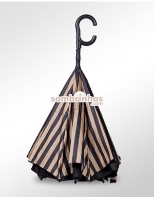 Guarda-Chuva Invertido Automático Fazzoletti Fecha ao Contrário Beige Stripes Premium