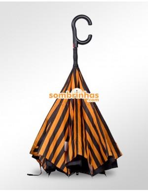 Guarda-Chuva Invertido Automático Fazzoletti Fecha ao Contrário Orange Stripes Premium