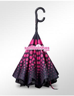 Guarda-Chuva Invertido Automático Fazzoletti Fecha ao Contrário Pink Circles Premium