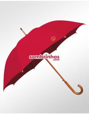 Guarda-Chuva Retrô Náutico Fiberglass em Madeira Vermelho Premium