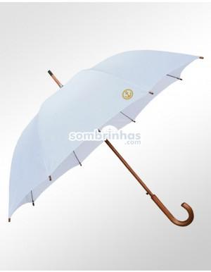Guarda-Chuva Retrô Náutico Fiberglass em Madeira Branco Premium