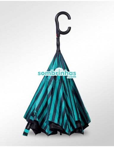 Guarda-Chuva Invertido Automático Fazzoletti Fecha ao Contrário Aqua Stripes Premium