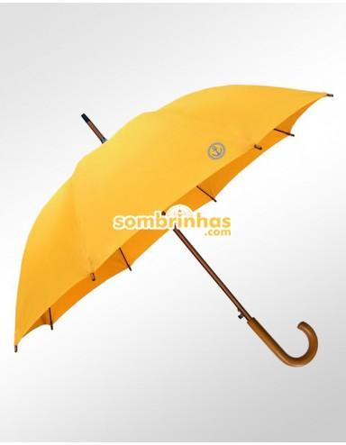 Guarda-Chuva Retrô Náutico Fiberglass em Madeira Amarelo Premium