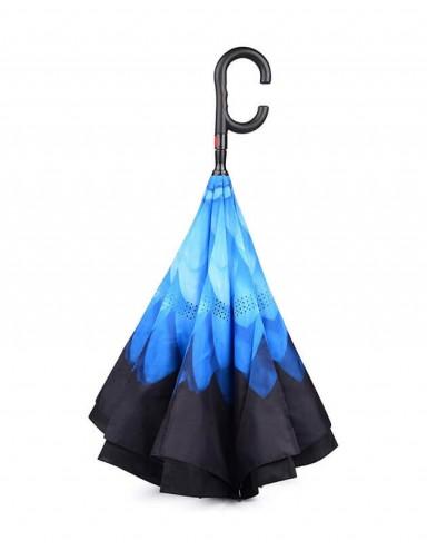 Guarda-Chuva Invertido Fecha ao Contrário Flor Azul