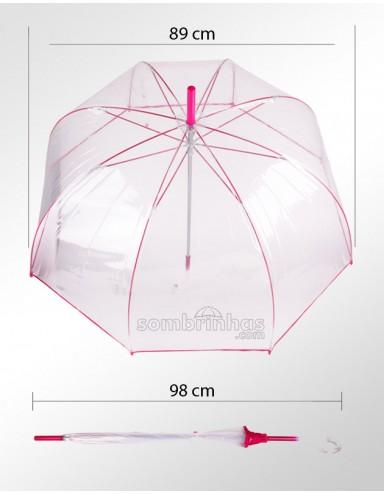 Sombrinha Top de Linha Fazzoletti Transparente Pink