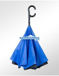 Guarda-Chuva Invertido Automático Fazzoletti Fecha ao Contrário Azul Premium