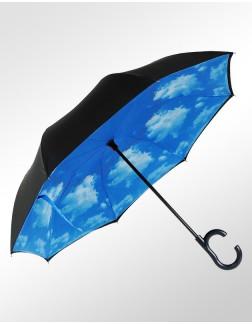 Guarda-Chuva Invertido Automático Fazzoletti Fecha ao Contrário Céu Azul Premium