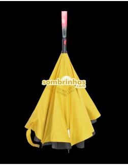 Guarda-Chuva Invertido Automático Fazzoletti Fecha ao Contrário Amarelo Lumini Premium