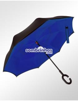 Guarda-Chuva Invertido Fecha ao Contrário Azul Bic