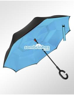 Guarda-Chuva Invertido Fecha ao Contrário Azul Claro