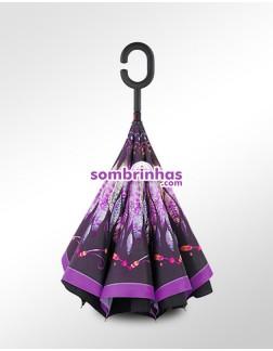 Guarda-Chuva Invertido Fecha ao Contrário Purple Feather