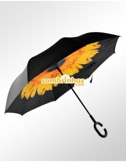 Guarda-Chuva Invertido Fecha ao Contrário Girassol Amarelo