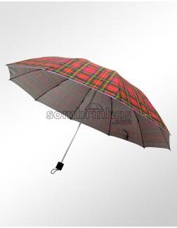 Sombrinha Proteção Solar Dobrável Xadrez Escocês